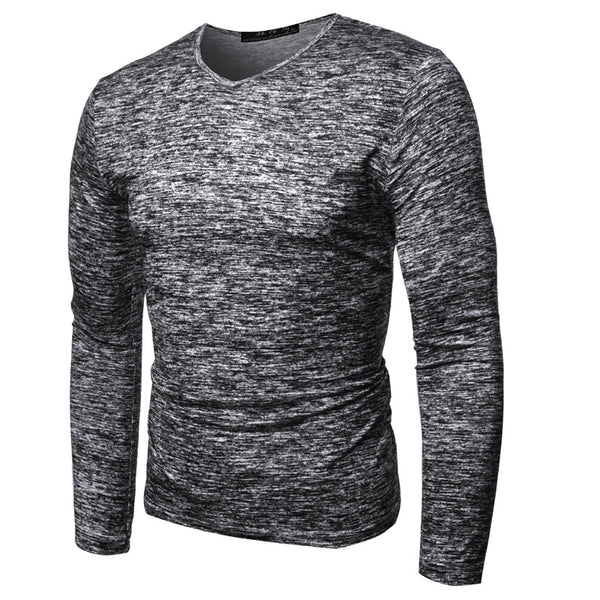 Men's new casual round neck long sleeve T-shirt