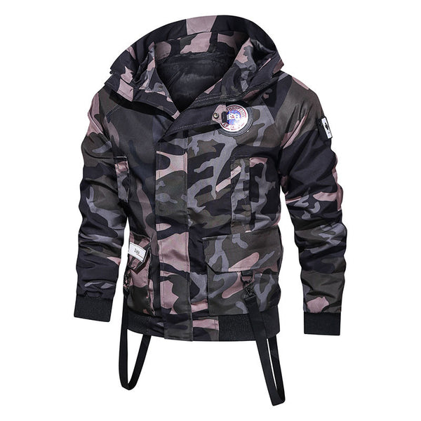 Men's fashion personality hooded camouflage flight jacket