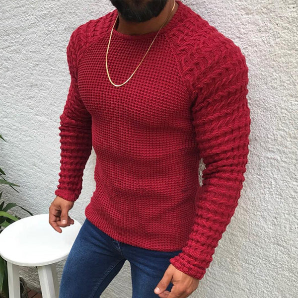 Tapmeo® Men's Fashion Casual Plain Slim Long Sleeve Round Neck Sweater