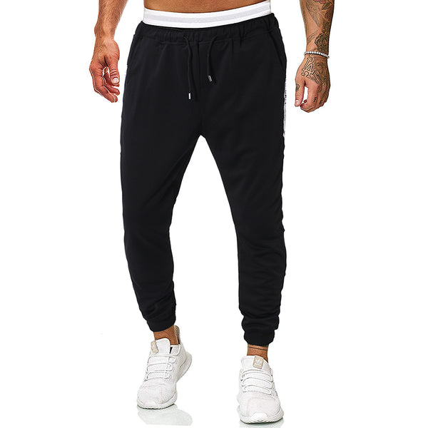 Men's fashion casual webbing stitching lace casual pants