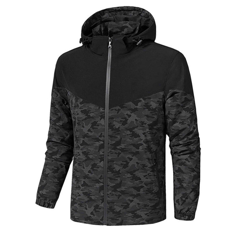 Men's camouflage casual long-sleeved hooded cardigan jacket