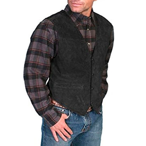 Men's plain faux deerskin vest
