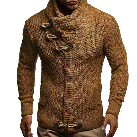 Men's fashion casual horn button stand collar long sleeve sweater
