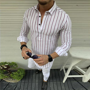 Men's cotton and linen striped long sleeve shirt