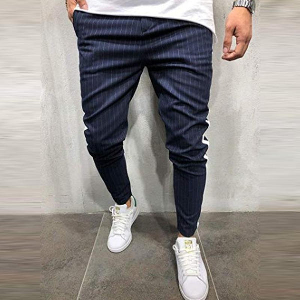 MANFLARE - Men's new plain fashion sports casual striped trousers