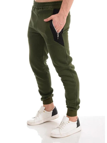 Men's patchwork zipper sports casual trousers