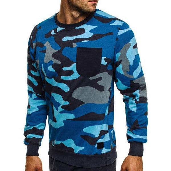 Men's Camouflage Fashion Round Collar Sweater