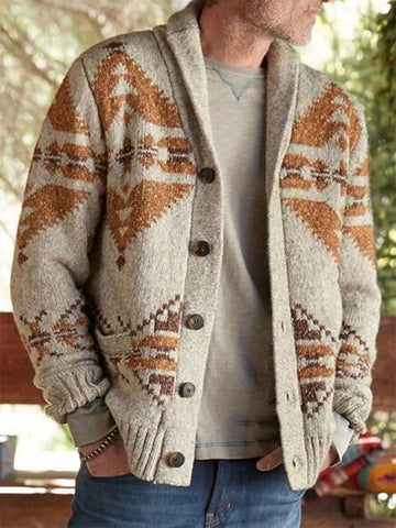 Men's Fashion Native American Pattern Knitted Jacket