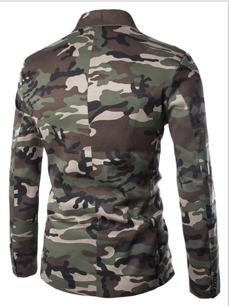 Mens camouflage long-sleeved slim single-breasted suit
