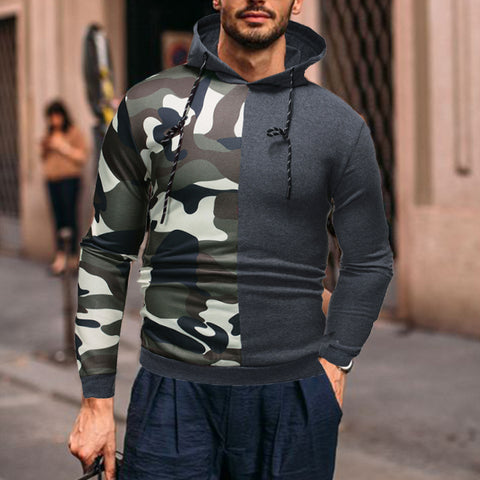 Men's fashion casual camouflage stitching printed hooded sweater