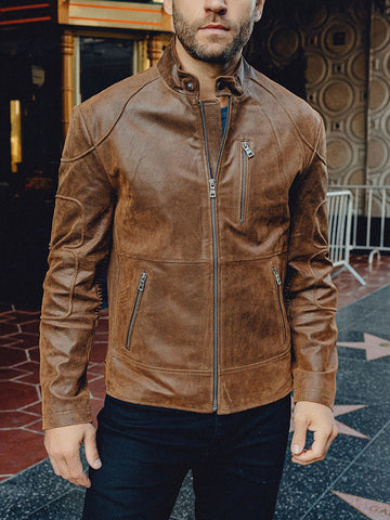 Mens Fashion Trend Stand Collar Motorcycle Leather Jacket