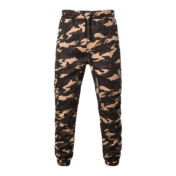 Mens casual fashion camouflage stitching strappy trousers