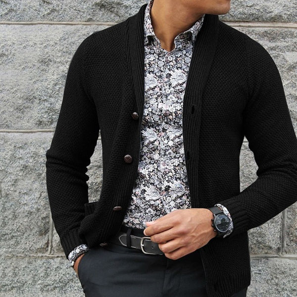 Men's casual fashion plain single-breasted sweater cardigan
