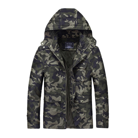 Men's Fashion Stand Collar Hooded Camouflage Coat