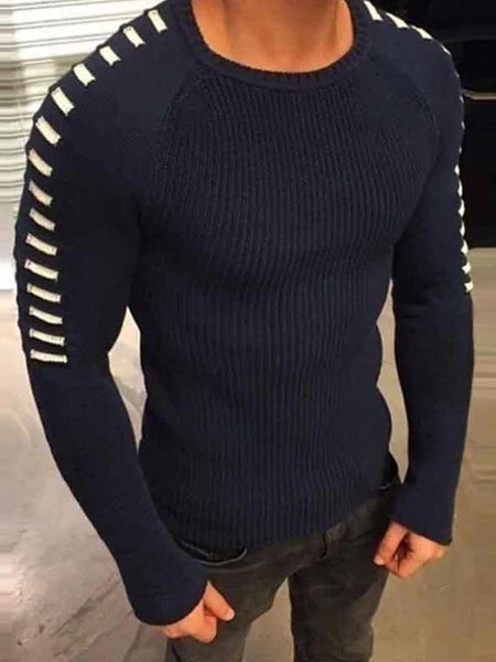 Men's casual fashion plain slim long sleeve round neck sweater