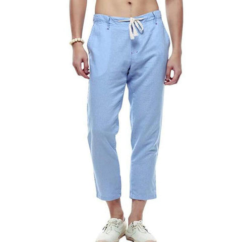 Men's new plain casual loose tether linen cropped pants