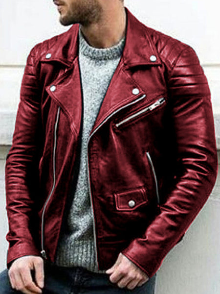 Men's Fashion PU Stand Collar Motorcycle Leather Jacket