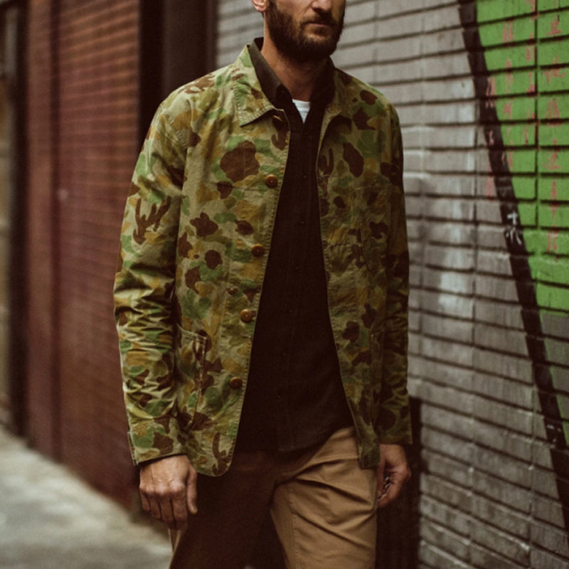 Men's fashion casual camouflage lapel jacket