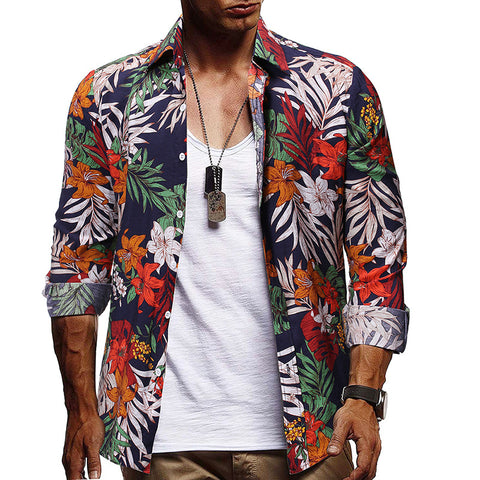Men's Fashion Casual Printed Long Sleeve Shirt