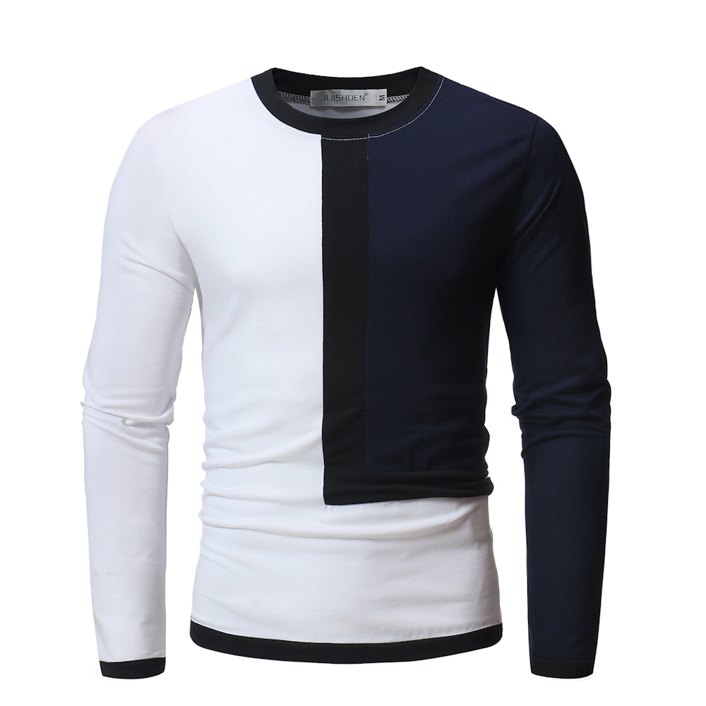 Men's New Casual Stitching Round Neck Long Sleeve T-shirt