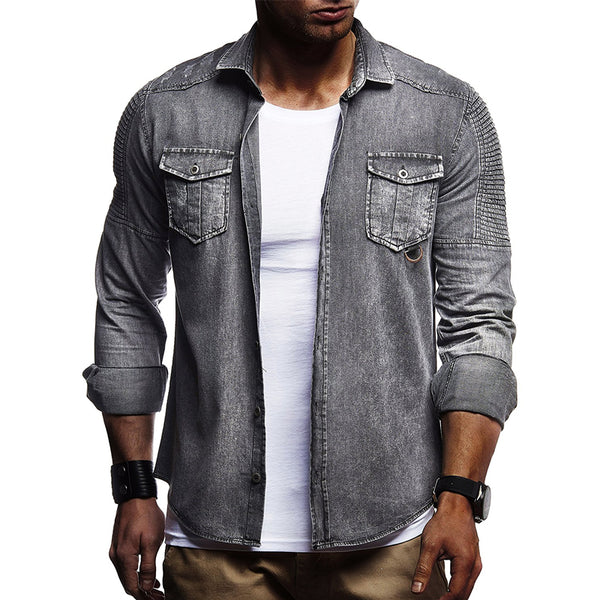 Men's Fashion Folded Shoulder Pocket Denim Shirt Jacket