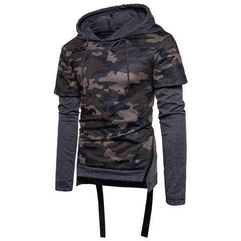 Mens new plain fashion hooded camouflage stitching sweater