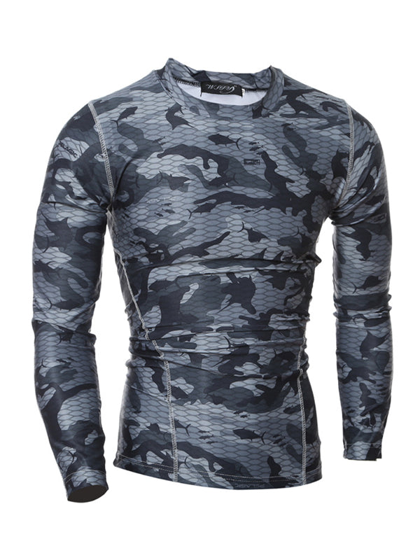 Men's camouflage long-sleeved quick-drying sports T-shirt