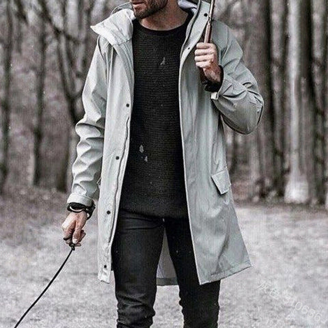 Men's fashion plain hooded coat