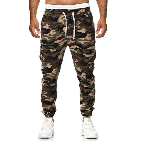 Mens plain casual camouflage loose rope tooling trousers