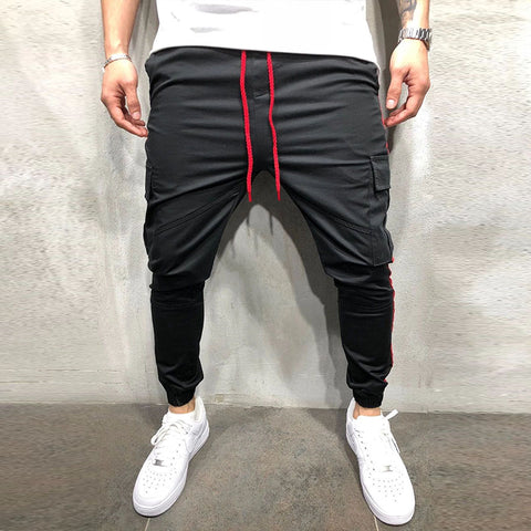 Men's color patchwork pocket casual sports trousers