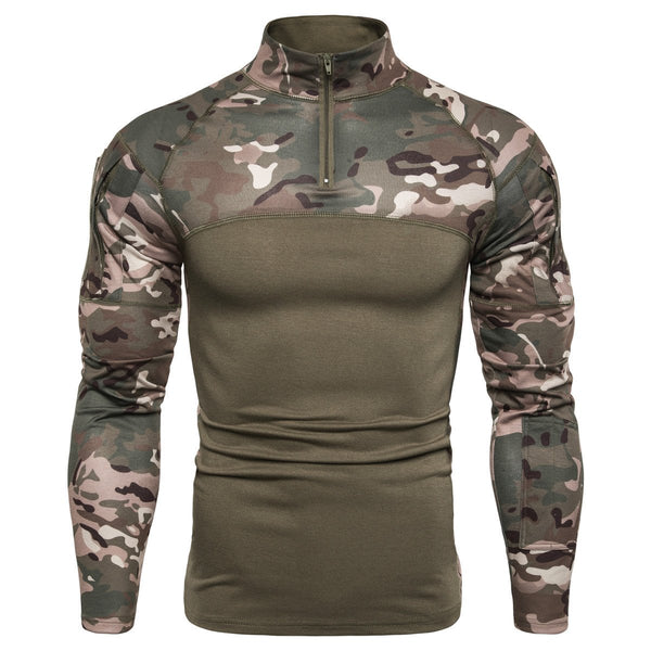 Men's new camouflage stitching stand collar long sleeve T-shirt