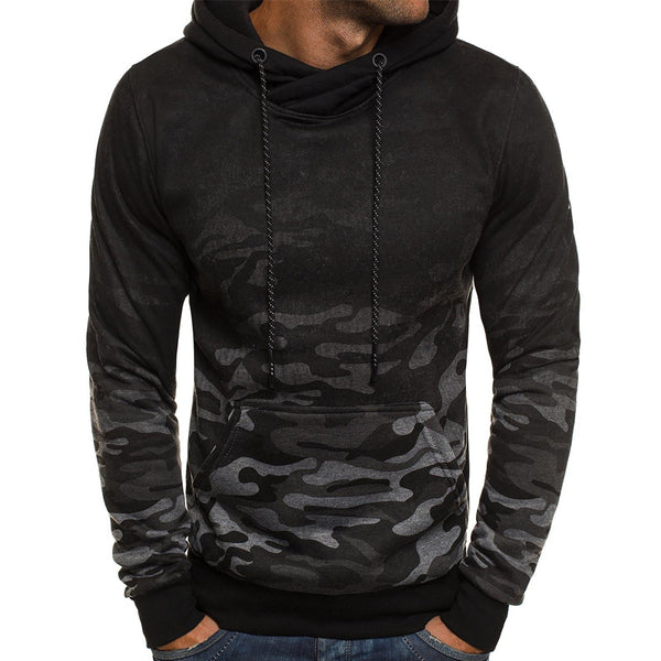 Men's camouflage gradient casual hooded pullover sweater