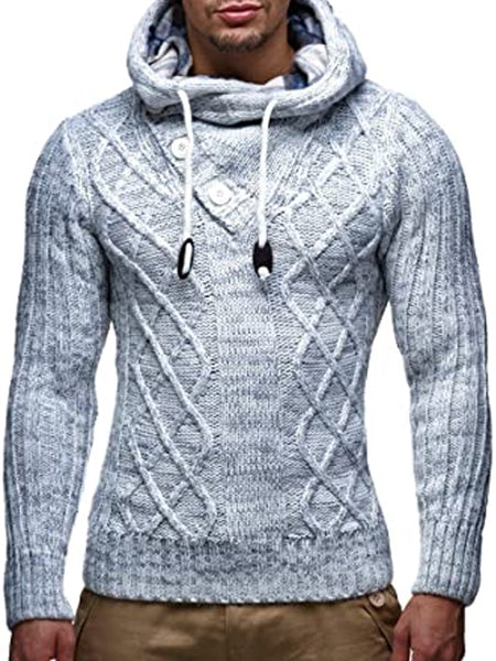Men's Fashion Casual Hooded Button Sweater