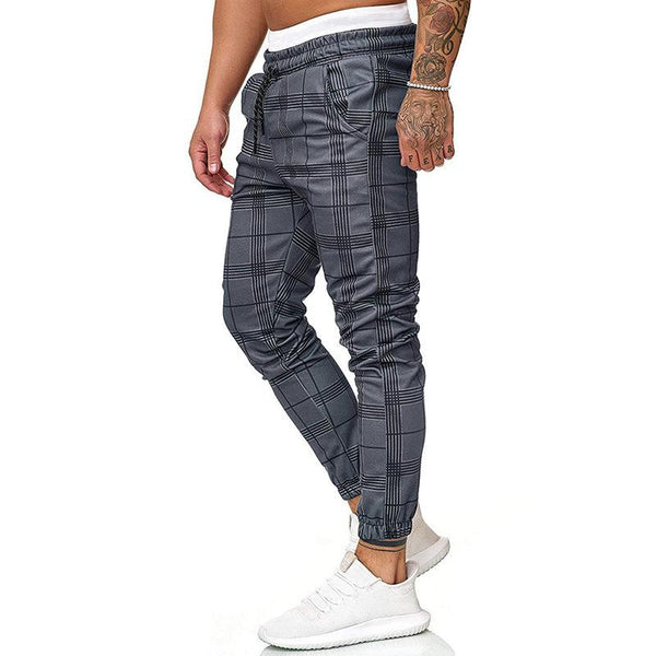 MANFLARE - Men's casual fashion lace elastic waist plaid trousers