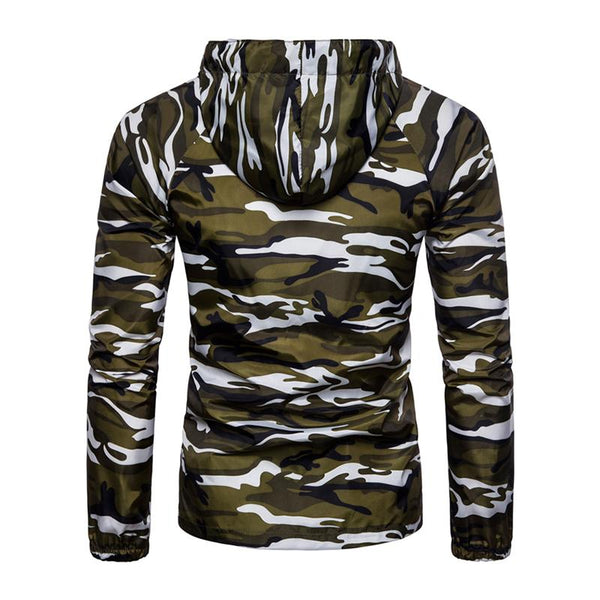 Mens Fashion Stand Collar Hooded Camouflage Coat