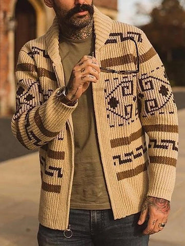 Men's Fashion Chic Native American Pattern Knit Jacket