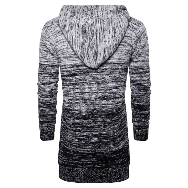 Men's casual gradient gray hooded mid-length knitted cardigan