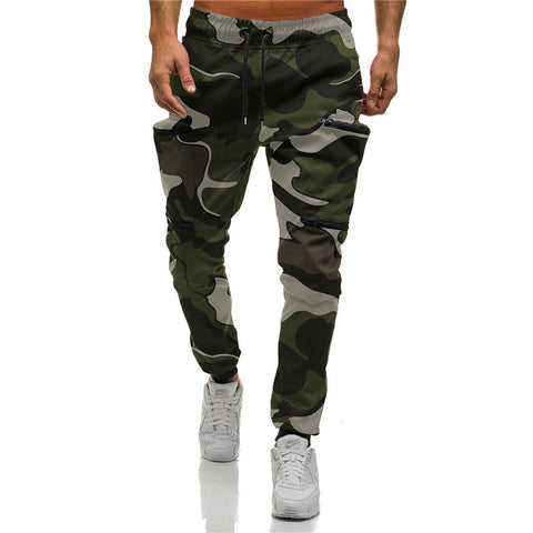 Mens sports multi-pocket camouflage print trousers