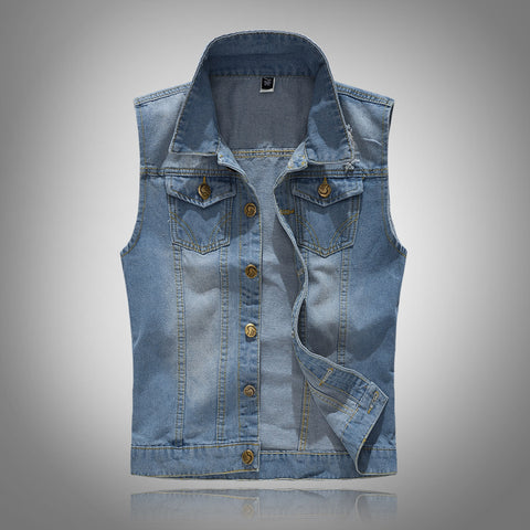 MENSCASE - Men's plain fashion casual slim-fit vest denim jacket