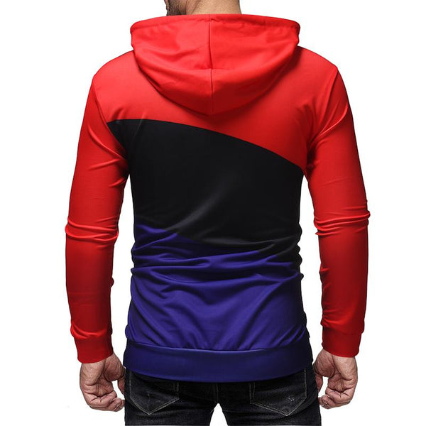 Men's fashion casual color contrast stitching hooded pullover sweater