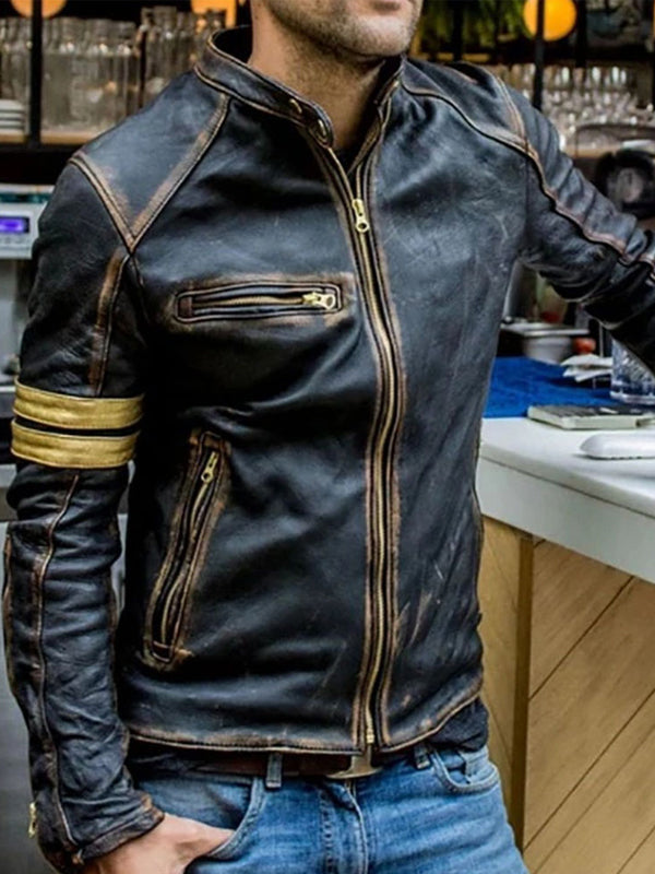 Mens Fashion Motorcycle Stand Collar Leather Jacket