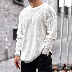 Men's casual fashion plain o-neck long sleeve knitted sweater