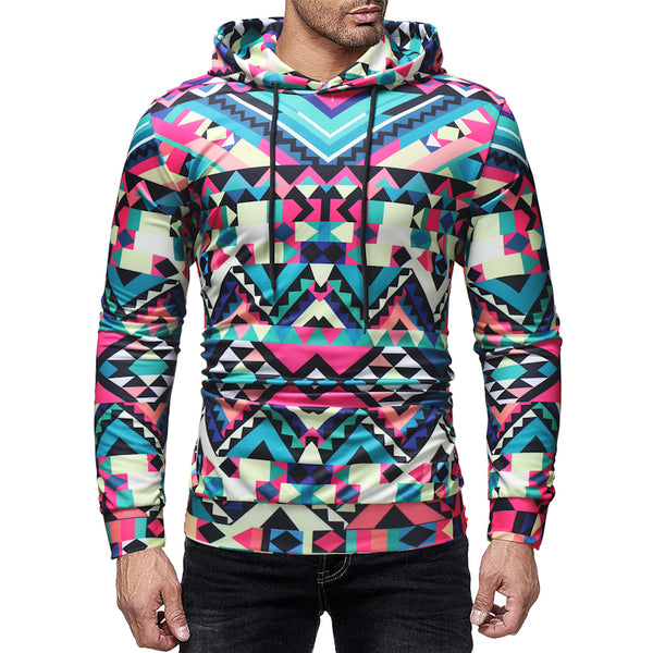 Men's fashion casual creative printing hooded pullover sweater