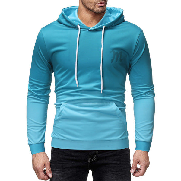 Men hooded pullover casual loose printing long-sleeved sweater