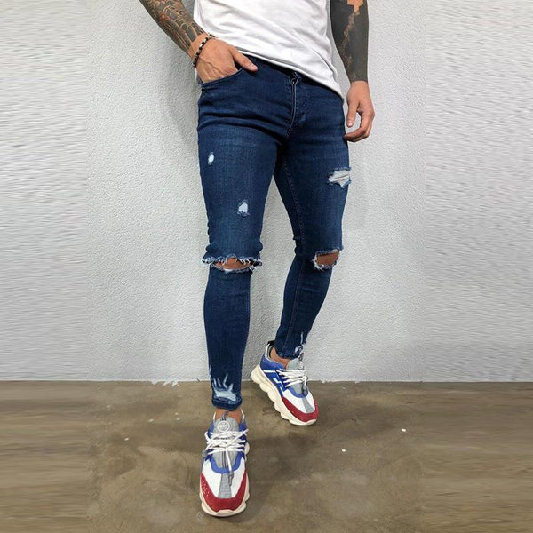 Men's plain fashion ripped slim fit jeans