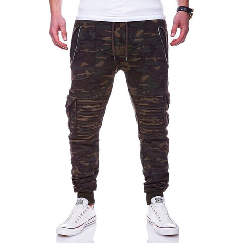 Men's new casual fashion striped zipper foot pants