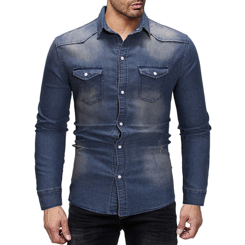 Mens fashion casual denim long sleeve shirt