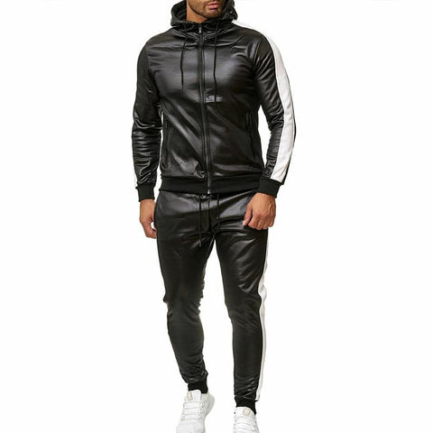 Men's pu patchwork sports casual hooded two-piece suit