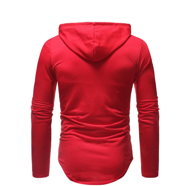 Men's Fashion Casual Ripped Hooded Long Sleeve Slim T-Shirt