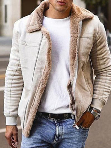 Men's Fashion Faux Fur Motorcycle Jacket
